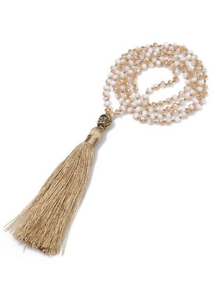 Casual Tassel Gemstone Pendant Necklaces (148039080)