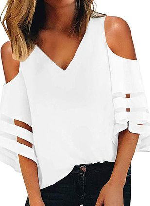 Plus Size Solid Casual V-Neckline 3/4 Sleeves Blouses (1542074)