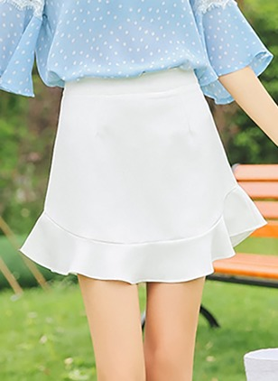 Cotton Solid Above Knee Casual White Skirts
