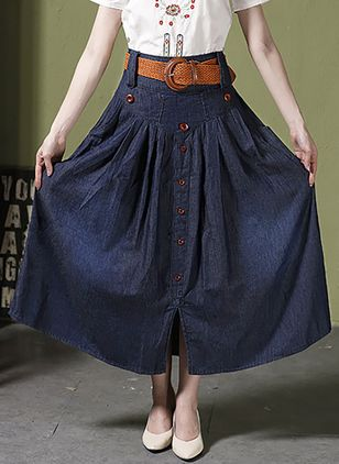 Solid Maxi Casual Buttons Sashes Skirts
