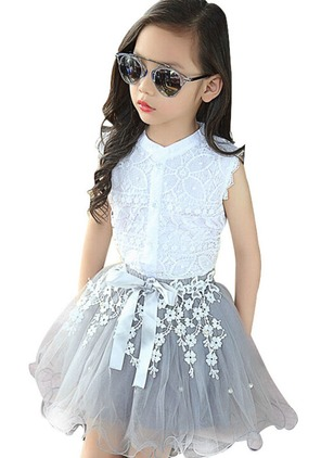 Girls' Floral Holiday Sleeveless Clothing Sets