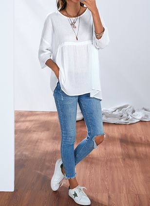 Plus Size Solid Round Neckline Casual Shift Blouses 3/4 Sleeves Plus Blouses (1309003)