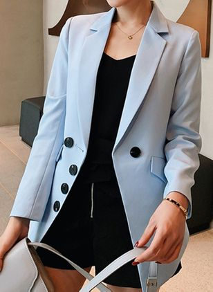 Long Sleeve Lapel Buttons Pockets Blazers (146939314)