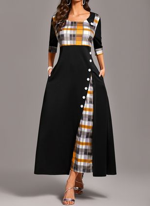 Plus Size Color Block Round Neckline Casual Pockets Maxi Plus Dress