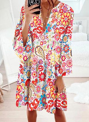 Boho Floral Tunic V-Neckline A-line Dress (106821844)