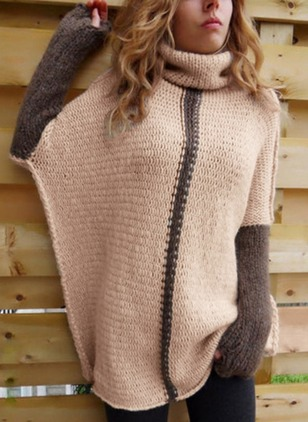 Acrylic High Neckline Color Block Loose None Sweaters