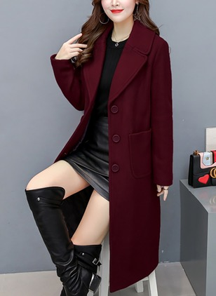 Long Sleeve Lapel Buttons Pockets Coats