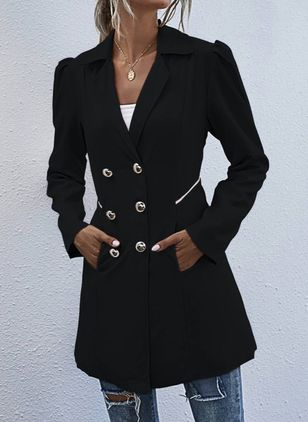 Long Sleeve Lapel Buttons Pockets Peacoats (108858329)