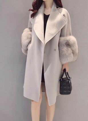 Long Sleeve Lapel Coats (107520074)