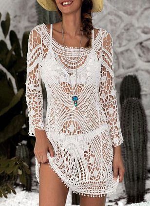 Polyester Crochet Cover-Ups Swimwear (1290363)