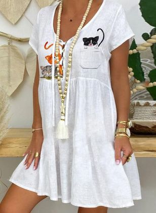 Casual Animal Tunic V-Neckline A-line Dress (4126834)