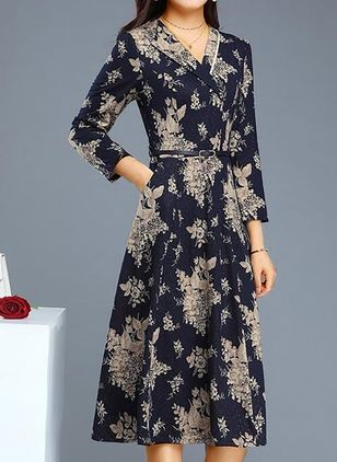 Casual Floral Pencil V-Neckline Sheath Dress (106703702)