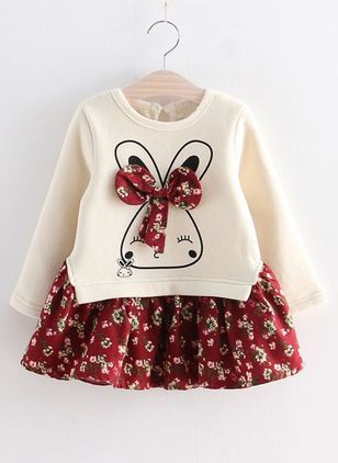 Girls' Vintage Floral Birthday Long Sleeve Dresses