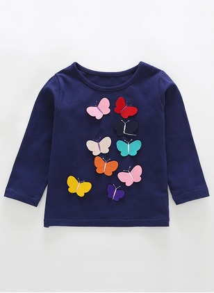 Girls' Animal Round Neckline Long Sleeve Tops