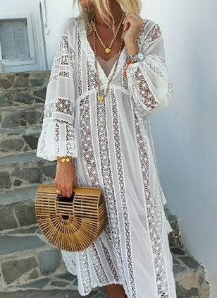 Solid Hollow Out Long Sleeve Maxi Shift Dress