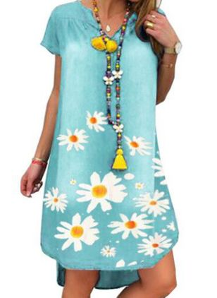 Casual Floral Tunic V-Neckline Shift Dress (5502297)