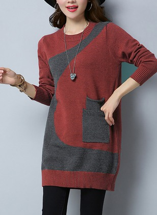Knitted Round Neckline Color Block Long Pockets Sweaters