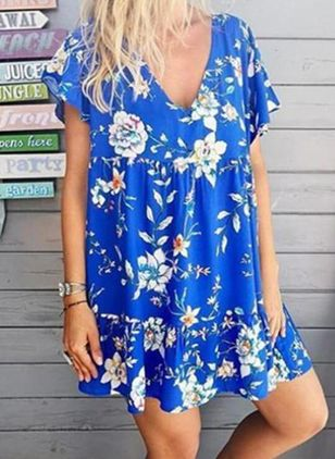 Casual Floral Tunic V-Neckline A-line Dress (100001976)