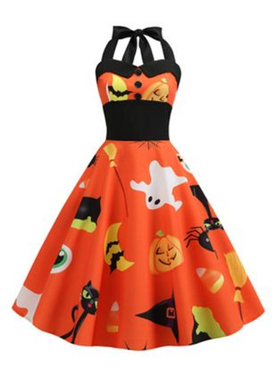 Halloween Color Block Halter Neckline Midi X-line Dress (109973594)