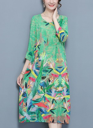 Floral Buttons 3/4 Sleeves Midi Shift Dress
