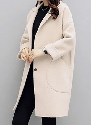 Long Sleeve Lapel Buttons Pockets Coats (109556196)