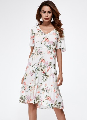 Elegant Floral V-Neckline Knee-Length A-line Dress (1043226)