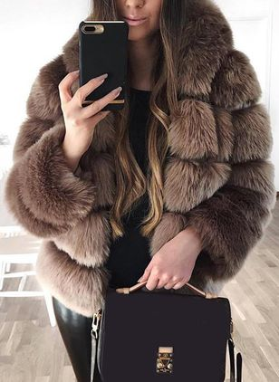 Long Sleeve High Neckline Fur Coats