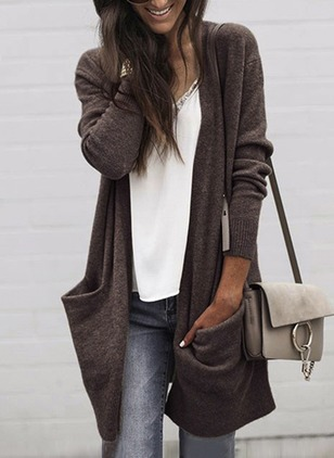 Long Sleeve Collarless Pockets Coats