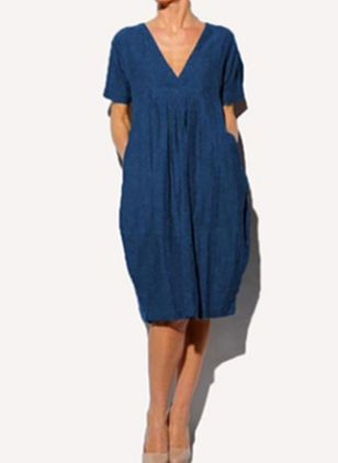 Casual Solid Tunic V-Neckline Shift Dress (4048974)