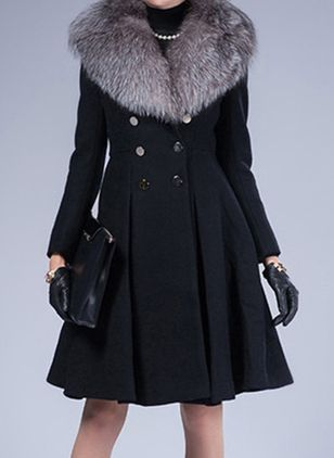 Long Sleeve Hooded Buttons Unremovable Fur Collar Peacoats
