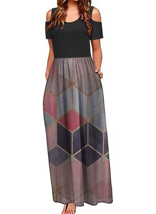 Casual Geometric Round Neckline Maxi X-line Dress (147221494)
