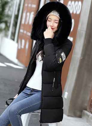 Polyester Long Sleeve Hooded Sequins Down Coats Coats