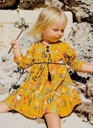 Girls' Floral Holiday Long Sleeve Dresses