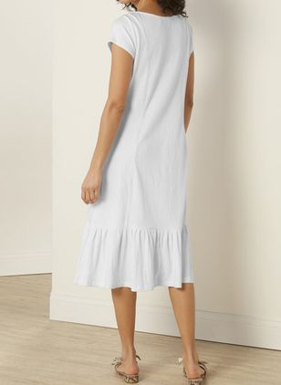 Casual Solid Tunic Round Neckline A-line Dress (147472300)