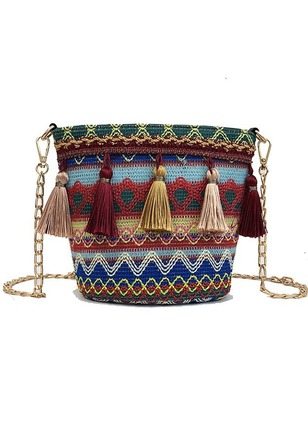Shoulder Polyester Print Tassel Chain Bags (1223761)