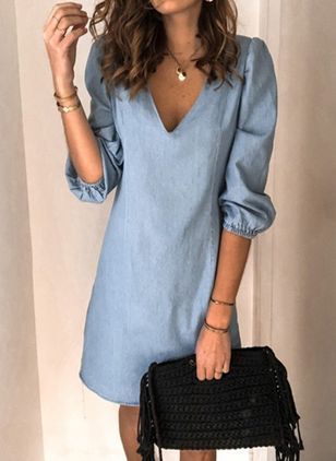 Shift Dress V-Neckline Denim Dress (4457119)
