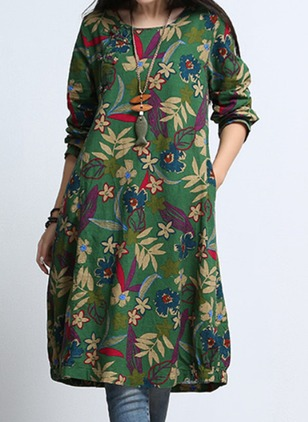Floral Pockets Peasant Knee-Length Shift Dress