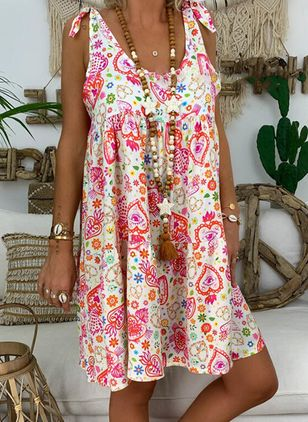 Casual Floral Tunic Camisole Neckline A-line Dress (100037746)