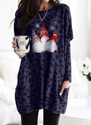 Christmas Animal Tunic Round Neckline A-line Dress (146771593)