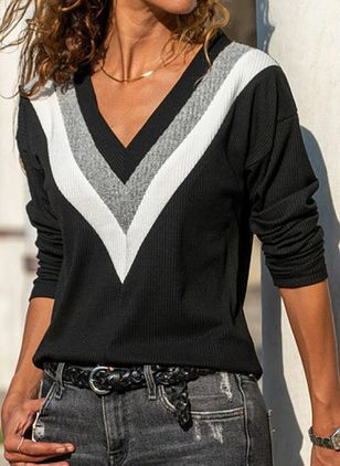 Color Block V-Neckline Long Sleeve Casual T-shirts (5999891)
