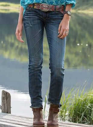 Alldaglig Skinny Normal midja Denim Jeans Byxor (107520295)