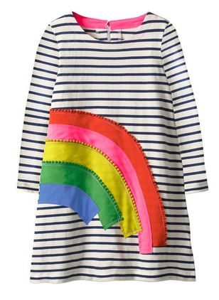 Girls' Casual Rainbow Daily Long Sleeve Dresses