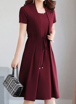 Elegant Solid Round Neckline Knee-Length X-line Dress (1530080)