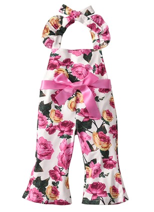 Girls' Cool Floral Holiday Sleeveless Clothing Sets