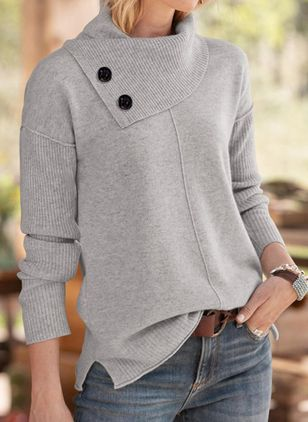 Draped Neckline Solid Casual Loose Regular Shift Sweaters (109974654)
