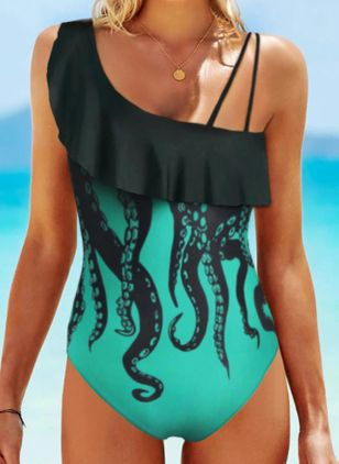 Polyester Oblique Neckline Geometric One-piece Swimwear (147423493)