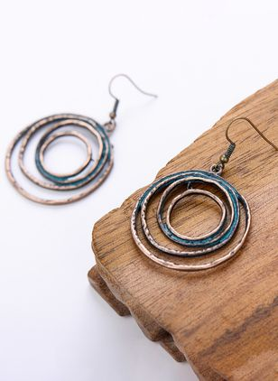 Casual Round No Stone Dangle Earrings (147050024)