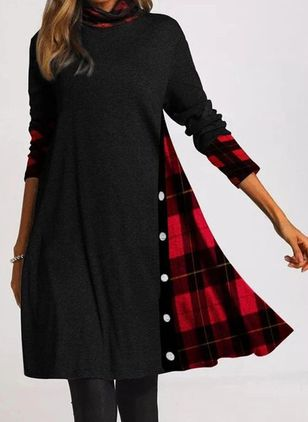 Casual Plaid Tunic High Neckline A-line Dress (112601865)