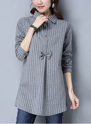 Stripe Cotton Collar Long Sleeve Blouses
