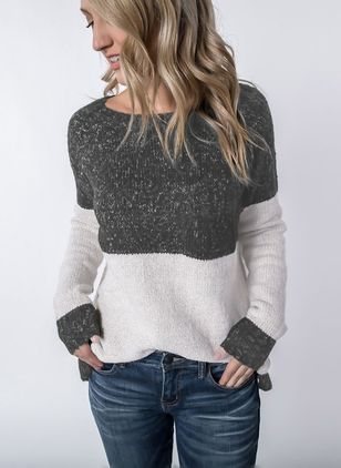 Round Neckline Color Block Loose Regular None Sweaters